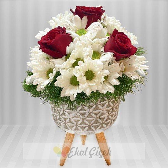 Ayaklı Seramikte Beyaz Papatya Kırmızı güller