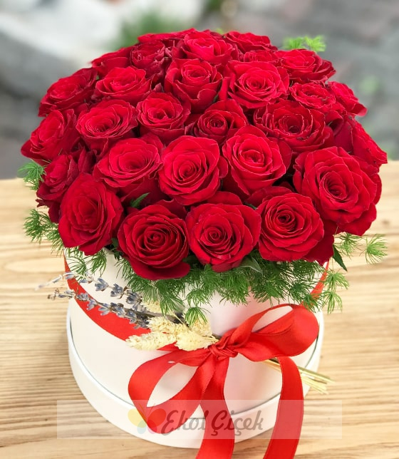 Beyaz kutuda kırmızı güller