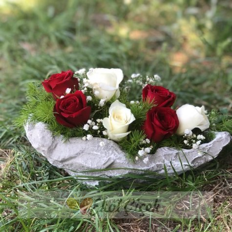 Kayıkta Kırmızı Beyaz Güller