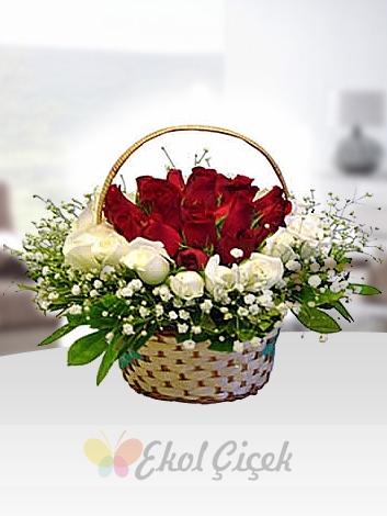 Sepette Kırmızı ve Beyaz Güller